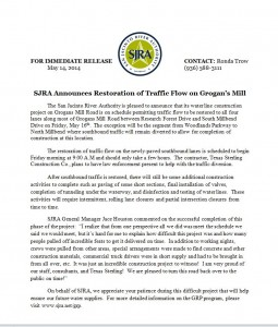 Press Release from SJRA Regarding Restoration of Traffic on Grogan's Mill - May 15, 2014